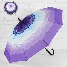 Зонт - трость полуавтоматический «Горы», 10 спиц, R = 49 см, цвет сиреневый МИКС Ош
