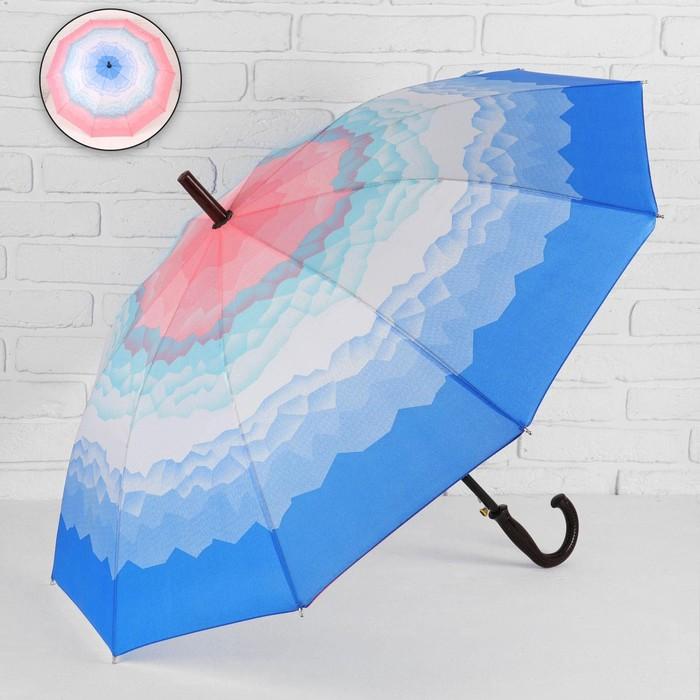 Зонт - трость полуавтоматический «Горы», 10 спиц, R = 49 см, цвет розовый/голубой МИКС