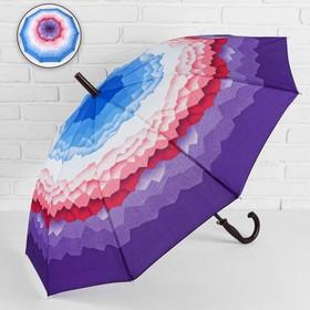 Зонт - трость полуавтоматический «Горы», 10 спиц, R = 49 см, цвет фиолетовый МИКС Ош