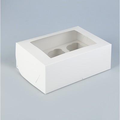 Коробка на 6 капкейков с окном, белая, 25 х 17 х 10 см - Фото 1