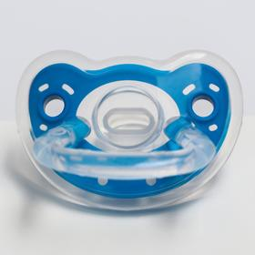 Пустышка силиконовая ортодонтическая с колпачком, от 0 мес., цвета МИКС