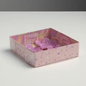 Коробка для макарун с подложками с PVC крышкой Sweet dreams, 12 х 12 х 3 см