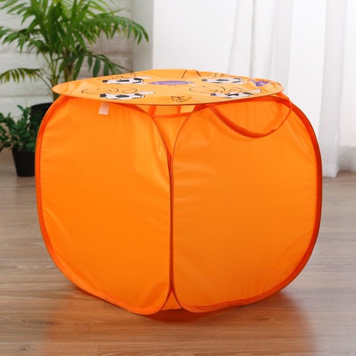 Корзина для игрушек «Баскетбол» с ручками и крышкой, цвет оранжевый