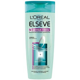 Шампунь для волос Elseve «3 ценные глины», балансирующий, для смешанного типа волос, 250 мл