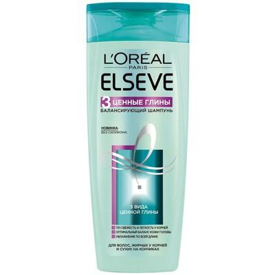 Шампунь для волос Elseve «3 Ценные Глины», балансирующий, для смешанного типа волос, 400 мл