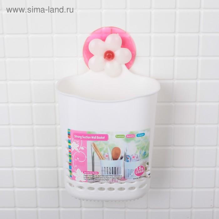Держатель для ванных принадлежностей на присосках 11×6×16 см
