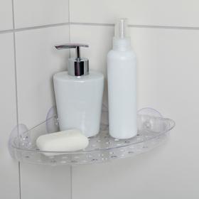 Полочка в ванную комнату угловая на присосках Bath Collection, 19×19×3 см, цвет МИКС Ош