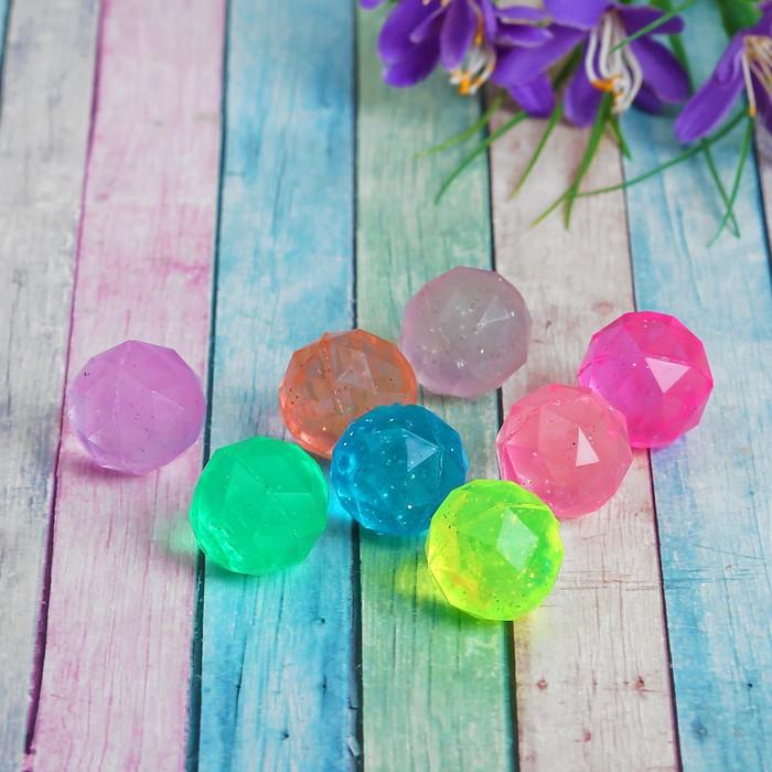 Мяч каучуковый Кристал, 2,5 см, цвета МИКС