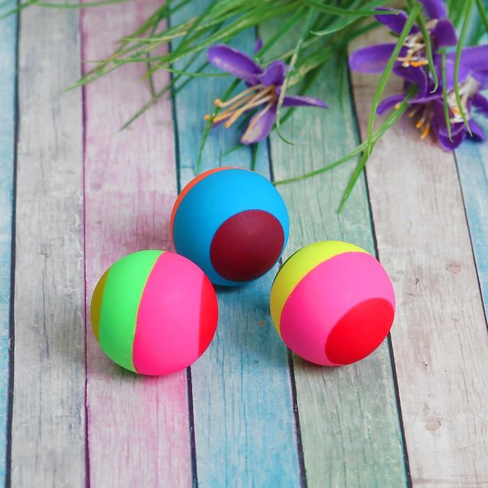 Мяч каучуковый Полосатик, 3,3 см, цвета МИКС
