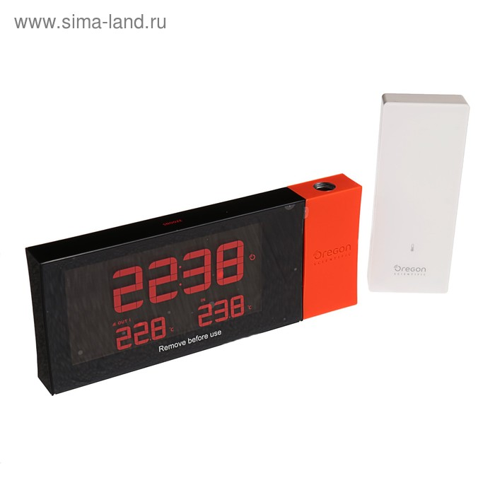 Термометр Oregon Scientific RMR221PN, проекция, радио-датчик, красный