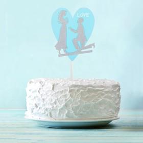 Топпер «Влюблённая пара», цвет серебряный
