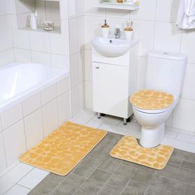 Набор ковриков для ванны и туалета Доляна «Галька», 3 шт: 36×42, 40×50, 50×80 см, цвет бежевый