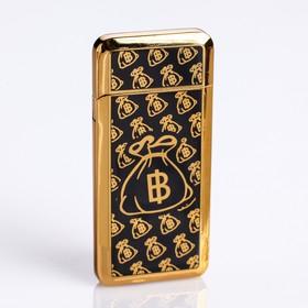 Зажигалка электронная 'Биткоин' в подарочной коробке, USB, спираль, чёрно-золотая, 3.5х7 см Ош