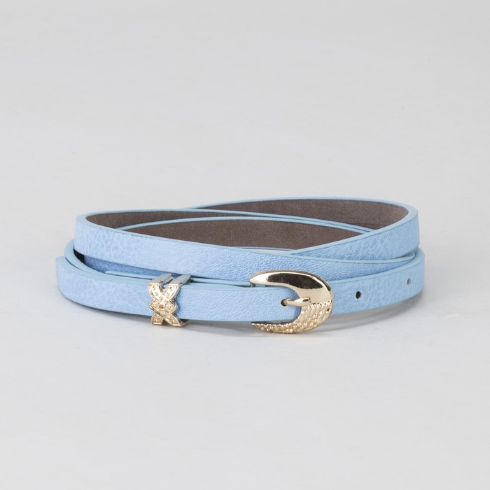 Ремень, пряжка и хомут золото, ширина - 0,8 см, цвет голубой