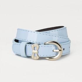 Ремень, гладкий, пряжка и хомут золото, ширина - 2,2 см, цвет голубой Ош