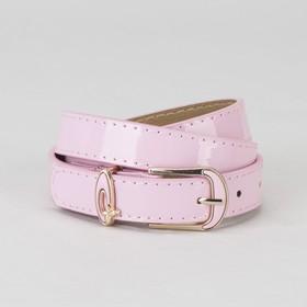Ремень, гладкий, пряжка и хомут золото, ширина - 2,2 см, цвет розовый Ош