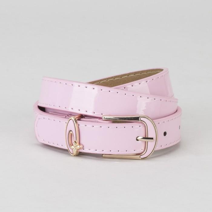 Ремень, гладкий, пряжка и хомут золото, ширина - 2,2 см, цвет розовый
