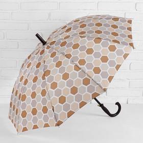 Зонт - трость полуавтоматический, 10 спиц, R = 51 см, цвет коричневый