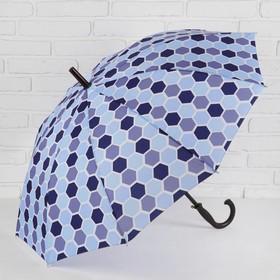 Зонт - трость полуавтоматический, 10 спиц, R = 51 см, цвет синий Ош