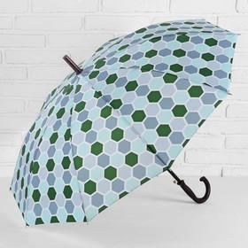 Зонт - трость полуавтоматический, 10 спиц, R = 51 см, цвет зелёный Ош