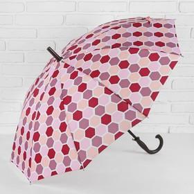 Зонт - трость полуавтоматический, 10 спиц, R = 51 см, цвет красный
