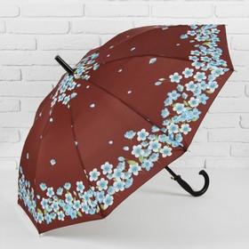 Зонт - трость полуавтоматический «Сакура», 10 спиц, R = 51 см, цвет коричневый Ош