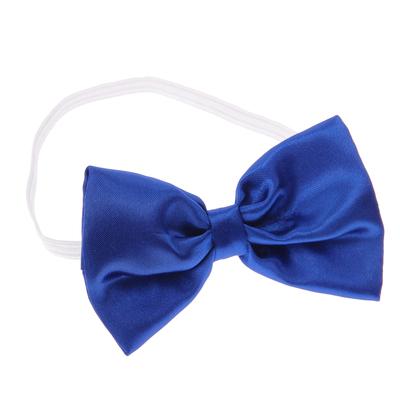 Карнавальный галстук-бабочка синий атласный - Фото 1