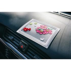 Коврик противоскользящий 17x13 см, розовые цветы,