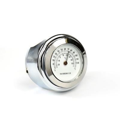 Термометр мотоциклетный, на руль, белый циферблат, хром