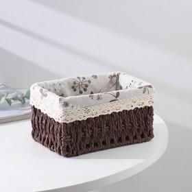 Корзина для хранения плетёная Доляна «Полянка», 19×13,3×8 см, цвет коричневый