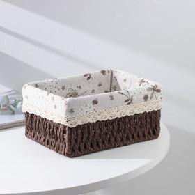 Корзина для хранения плетёная Доляна «Полянка», 22×16,5×10 см, средняя, цвет коричневый