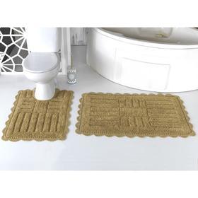 Набор ковриков Ancor, размер 60х100 см, 50х70 см, тёмно-бежевый