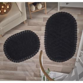 Набор ковриков Cross, размер 60х100 см, 50х70 см, цвет чёрный