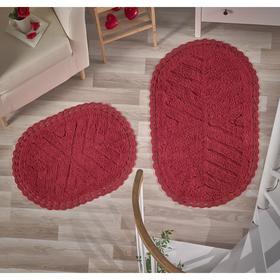 Набор ковриков Cross, размер 60х100 см, 50х70 см, цвет красный