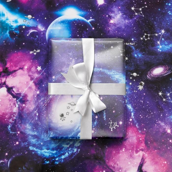 Бумага упаковочная глянцевая Космос, 50 х 70 см