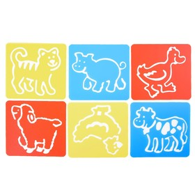 Трафареты 6 шт 'Домашние животные' лист бумаги Ош