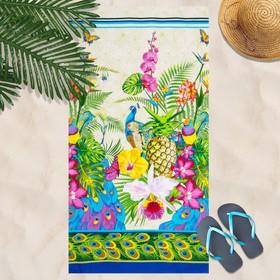 Вафельное полотенце Гаваи 80х150 см, разноцветный, хлопок 100 %, 160г/м² Ош