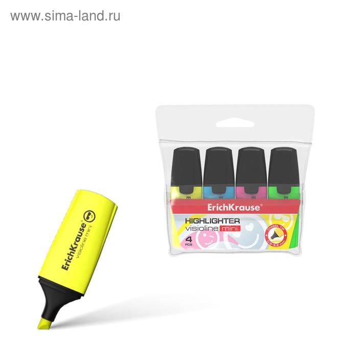 Набор маркеров текстовыделителей 4 цвета 0.6-5.2мм Erich Krause Mini, футляр, цвет чернил: желтый, зеленый, розовый, голубой
