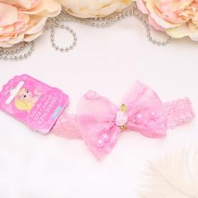 Повязка для волос 'Модница' розовая, бант с розочкой Ош