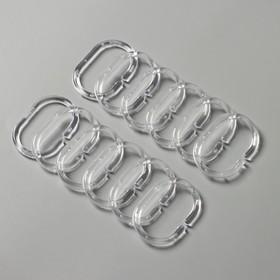 Набор колец для штор в ванную, пластик, 12 шт, цвет прозрачный Ош