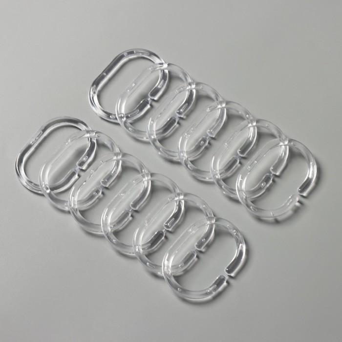 Набор колец для штор в ванную, пластик, 12 шт, цвет прозрачный