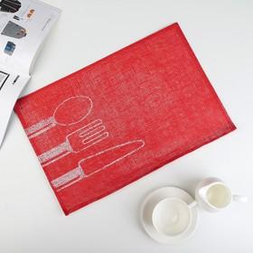 Салфетка кухонная 45х30 см 'Столовые приборы', цвет красный Ош