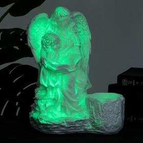 Светящееся фигурное кашпо 'Дева ангел с ребенком' бело-золотое 36см Ош
