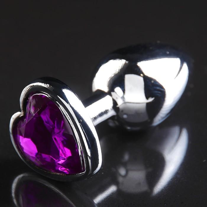"""Анальная пробка """"Silver"""", с фиолетовым кристаллом"""