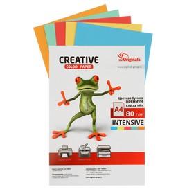 Бумага цветная А4, 100 листов «Креатив» Интенсив, 5 цветов, 80 г/м²