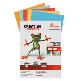 Бумага цветная А4, 50 листов «Креатив» Интенсив, 5 цветов, 80 г/м²