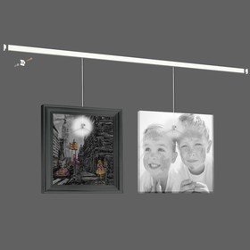 """Система для подвеса картин ArtiTeq: настенный рельс """"Клик"""" 200 см нагрузка 30 кг/м (возможна покраска) белый"""
