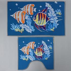 Набор ковриков для ванны и туалета Доляна «Подводный мир», 2 шт: 45×48, 58×78 см
