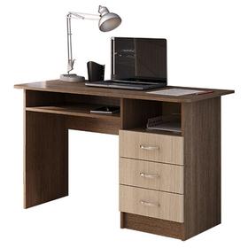 Стол письменный с 3-мя ящиками, 1200 × 570 × 750, Ясень шимо темный/Ясень шимо светлый
