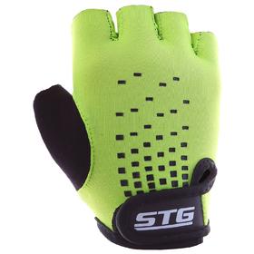 Перчатки велосипедные детские STG AL-03-511, размер M, цвет зелёный/чёрный Ош